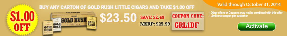 Buy any carton of Gold Rush Little Cigars and take $1.00 OFF!