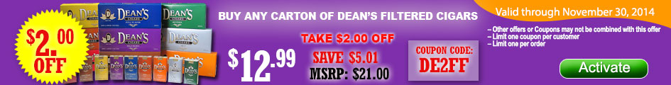Get $2.00 OFF on Dean's Large Filtered Cigars and save!
