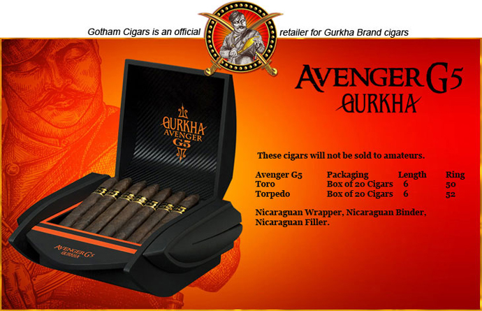 Buy Gurkha Avenger G5 Cigars at the lowest prices online at GothamCigars.com - Click here!