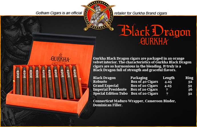 Buy Gurkha Black Dragon Cigars at the lowest prices online at GothamCigars.com - Click here!