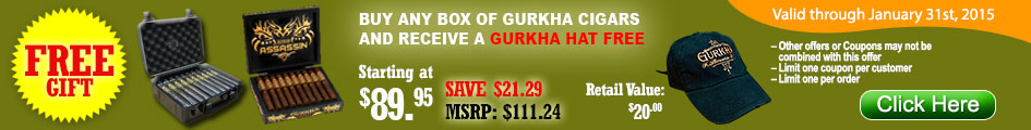 Buy a box of Gurkha Cigars and receive a Gurkha Hat for free!