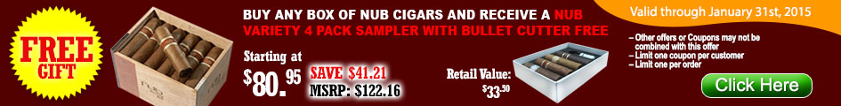 Buy any box of Nub Cigars and receive a Nub Variety Sampler with a Puncher for FREE!