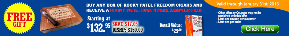 Buy any box of Rocky Patel Freedom Cigars and receive a Rocky Patel 4 Edge Cigars Sampler for FREE!