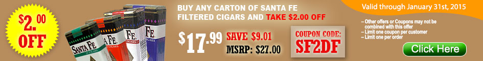 Get $2 OFF on all Santa Fe Filtered Cigars at Gotham Cigars by entering coupon code SF2DF!