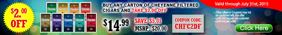 Buy any carton of Cheyenne Filtered Cigars and take $2.00 OFF