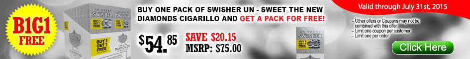 Buy one pack of Swisher Un-Sweet the new Diamonds Cigarillo and get a pack for FREE!
