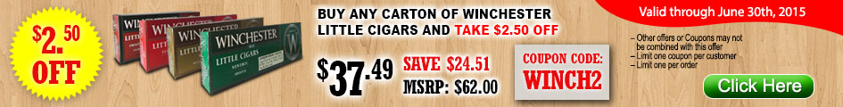 Buy any carton of Winchester Little Cigars and take $2.50 OFF