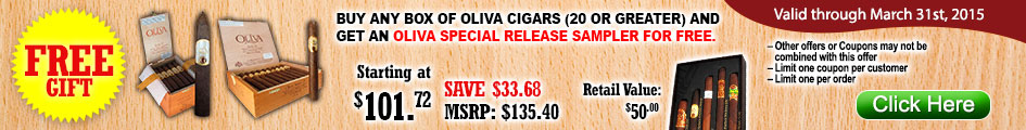 Buy any box of Oliva cigars (20 or greater) and get an Oliva special release sampler for FREE!