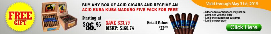 Buy any box of Acid cigars and receive a free Acid Kuba Kuba maduro five pack