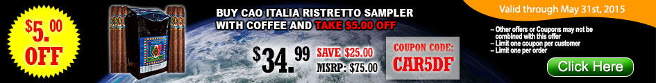 Buy CAO Italia Ristretto sampler with coffee and take $5.00 OFF