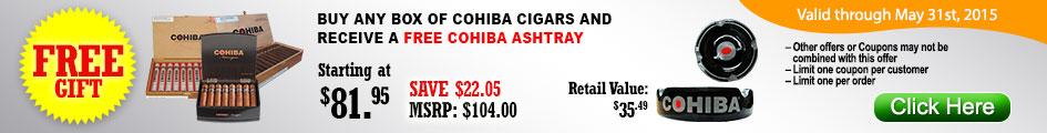 Buy any box of Cohiba cigars and receive a Free Cohiba Ashtray