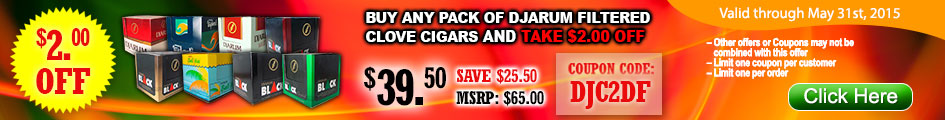 Buy any pack of Djarum Filtered Clove cigars and take $2.00 OFF