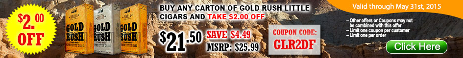 Buy any carton of Gold Rush Little cigars and take $2.00 OFF