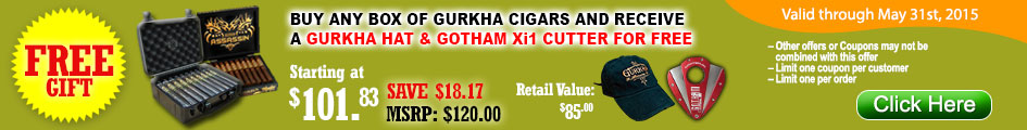 Buy any box of Gurkha cigars and receive a Gurkha hat & Gotham Xi1 cutter for FREE