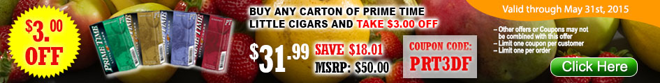 Buy any carton of Prime Time Little Cigars and take $3.00 OFF