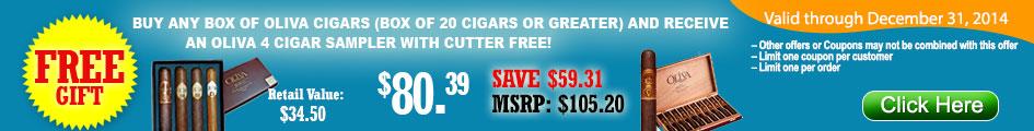 BUY OLIVA CIGARS GET OLIVA 4 CIGAR SAMPLER WITH CUTTER FREE!