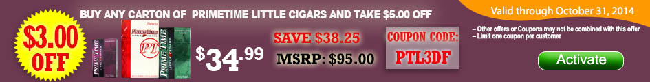 Buy any carton of Prime Time Little Cigars and get $3.00 OFF!