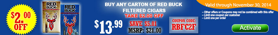 Buy any carton of Red Buck Filtered Cigars and get $2.00 OFF!