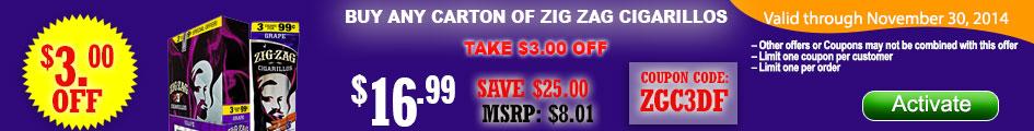 Buy any carton of Zig Zag Cigarillos and get $3.00 OFF!