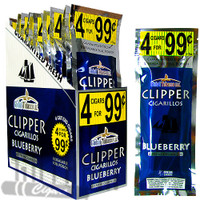 Clipper Cigarillos Foil Pack Blueberry 4 for $0.99 upright & foilpack