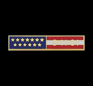 E91101 USA Flag Bar-Lifetime Warranty-Smith&Warren! This bar has 13 Distinctive Gold Stars representing our Original 13 Colonies, and the date 9-11-01 set in Gold within the Stars & Stripes. Dimensions (w x h) 1.85'' X 0.36''