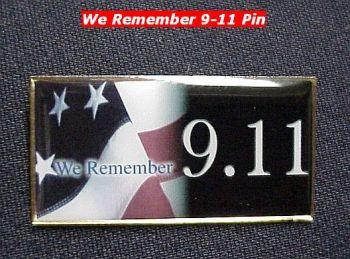"""US Flag Pin """"We Remember 9.11"""""""