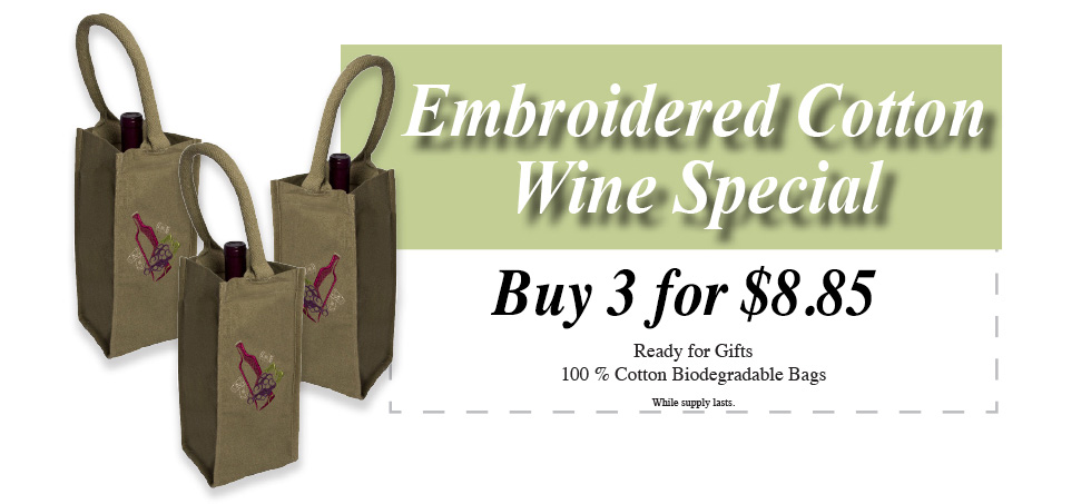 Embroidered Cotton Wine Special! Buy 3 for $8.85
