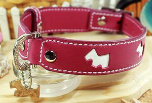 Genuine Italian Leather Collar- Pink Hamish