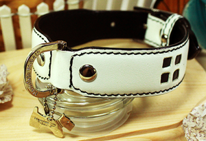 Genuine Italian Leather Collar- Tommy White