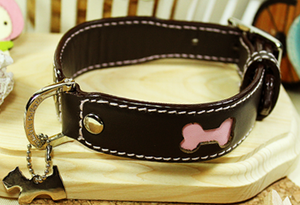 Genuine Italian Leather Collar Brown&Pink