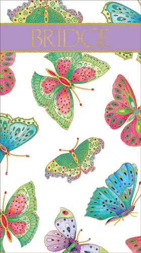 Bridge Score Pad Jeweled Butterflies