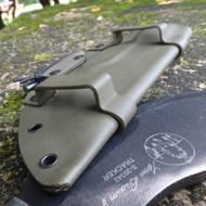 Tom Brown Tracker Horizontal custom Kydex sheath with firesteel back by Grizzly Outdoors.