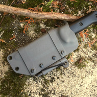 "A Horizontal, Scout carry style custom KYDEX knife sheath for a 5 1/4"" blade."