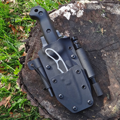"The New Zealander Piggyback sheath for the Becker BK2 and the KA-BAR Johnson Adventure Piggyback knife with a 3/8"" firesteel rod and a Lansky Tactical Sharpening Rod."