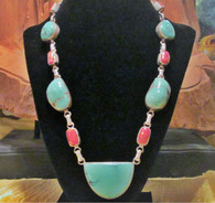 Antique Tibetan Turquoise, Coral Beads in Sterling Silver