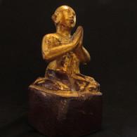 Gilded Antique 19th century Disciple Monk teak wood carving,  Lacquer, Burma