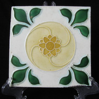 ART NOUVEAU MAJOLICA TILE C1900, Colinial Burma # 2