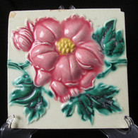 ART NOUVEAU MAJOLICA TILE, C1900, Manufactured in Japan, Colinial Burma # 3
