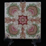 ART NOUVEAU MAJOLICA TILE, C1900, Manufactured in England, Colinial Burma # 5