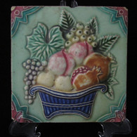 ART NOUVEAU MAJOLICA TILE, C1900, Manufactured in Japan, Colinial Burma # 7