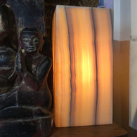 SOLD-YELLOW LACE ONYX LAMP SET PRICE #2