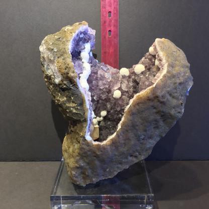 Abundant beautiful undamaged  Scolecite on Amethyst.