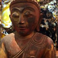 Solid Teak Wood Buddha Mandalay Style Circa 1900