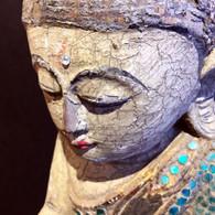 Mid 20th Century Teak Wood Buddha