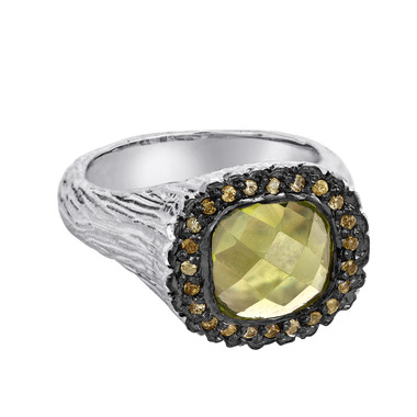 Peridot Sterling Silver Ring With Champagne Diamonds