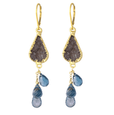 14k gold-filled druzi and london blue topaz cascade earrings