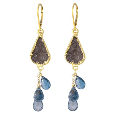 topaz druzi druzy earrings and blue london lodon gold filled cascade image