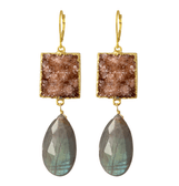 14k goldfilled drusy and labradorite drop earrings
