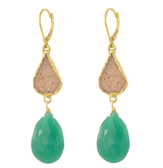 14k gold-filled druzy and chrysoprase drop earrings
