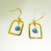 14 karat gold vermeille apatite hammered rectangle drop earrings